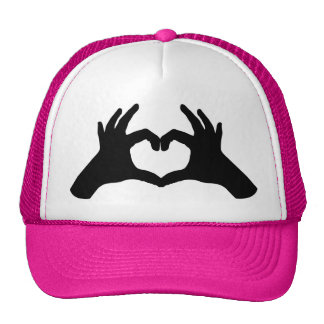 hand heart hat