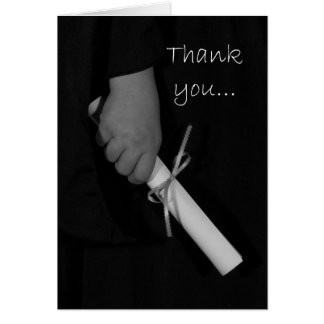 Hand Holding a Diploma, Graduation Thank You Card
