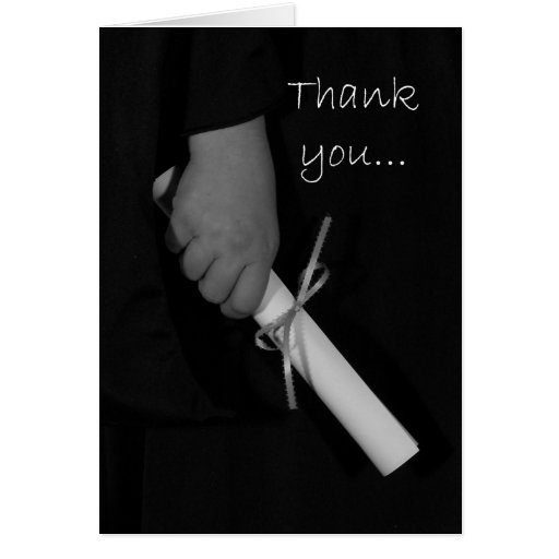 Hand Holding a Diploma, Graduation Thank You Card