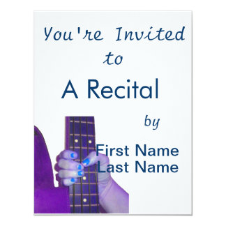 Hand holding bass guitar blue and purple photo 11 cm x 14 cm invitation card