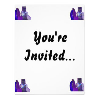Hand holding bass guitar blue and purple photo invitation