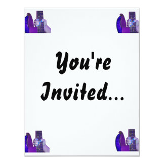 "Hand holding bass guitar blue and purple photo 4.25"" x 5.5"" invitation card"
