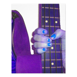 Hand holding bass guitar blue and purple photo personalized invitation