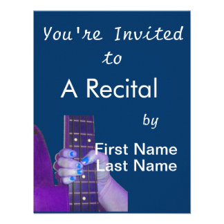 Hand holding bass guitar blue and purple photo personalized invites