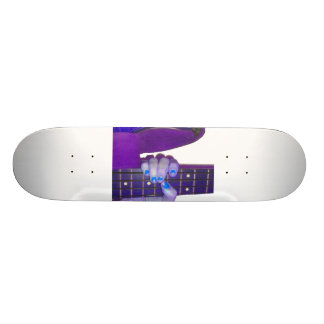 Hand holding bass guitar blue and purple photo 21.6 cm old school skateboard deck