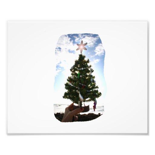 Hand Holding Christmas Tree Beach Sky Ocean Art Photo