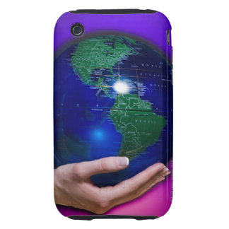 Hand holding earth tough iPhone 3 case