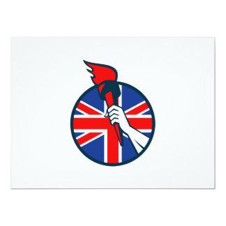 Hand Holding Flaming Torch British Flag Invitation