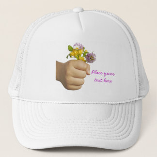 Hand Holding Flowers Trucker Hat