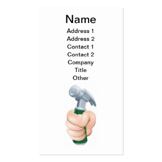 Hand holding hammer business card