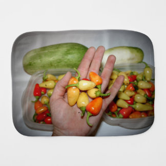 hand holding hot peppers food image baby burp cloth