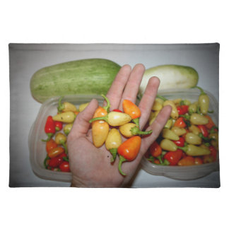 hand holding hot peppers food image placemats