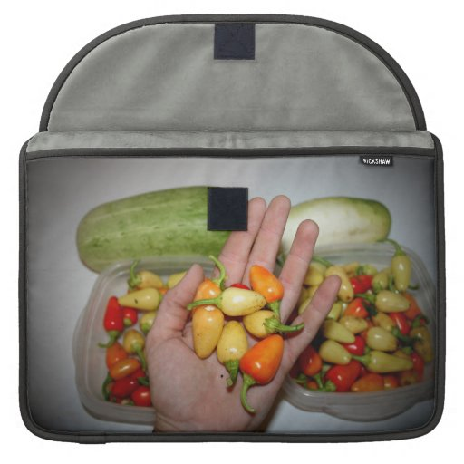 hand holding hot peppers food image MacBook pro sleeve