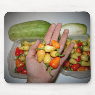 hand holding hot peppers food image mouse pad