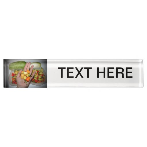hand holding hot peppers food image desk name plate