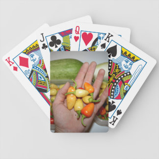 hand holding hot peppers food image bicycle card decks