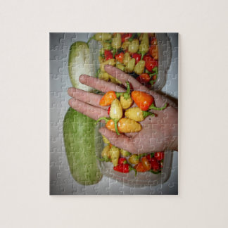 hand holding hot peppers food image jigsaw puzzle
