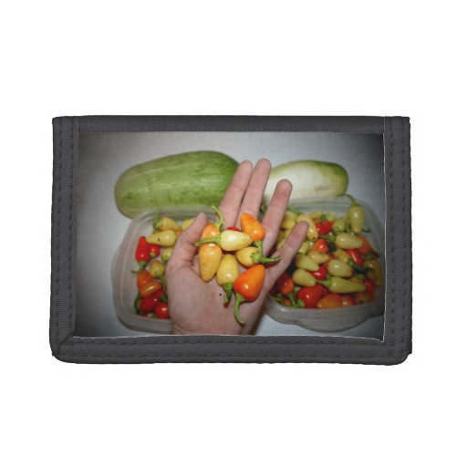 hand holding hot peppers food image wallet