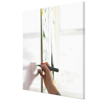 hand holding marker pen on school whiteboard canvas print