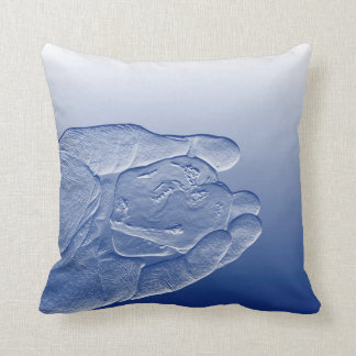 hand holding pepper raised  blue food abstract cushions
