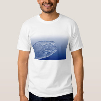 hand holding pepper raised  blue food abstract tee shirt