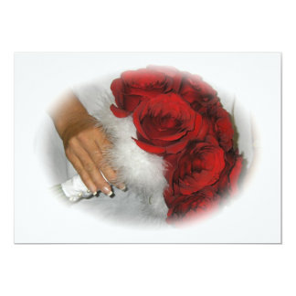 Hand Holding Red Rose Flowers Bouquet Invitation