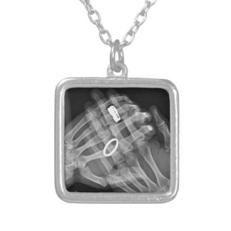 Hand Holding Silver Plated Necklace
