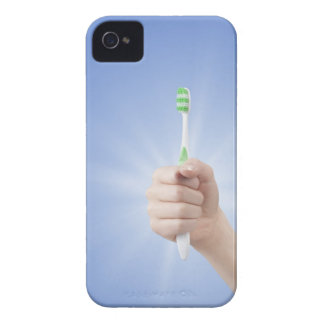 Hand holding tooth brush iPhone 4 Case-Mate case
