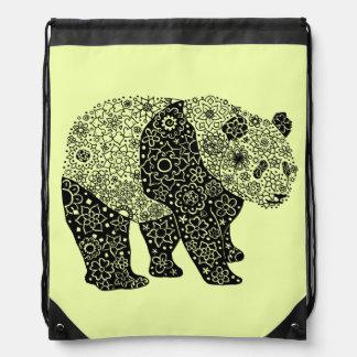 Hand Illustrated Artsy Floral Panda Bear Drawstring Bag