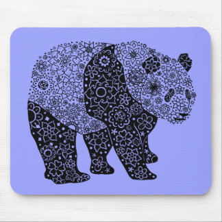 Hand Illustrated Artsy Floral Panda Bear Mouse Pad