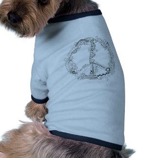 Hand Illustrated Artsy Floral Peace Sign Ringer Dog Shirt