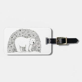 Hand Illustrated Artsy Floral Polar Bear Tag For Luggage