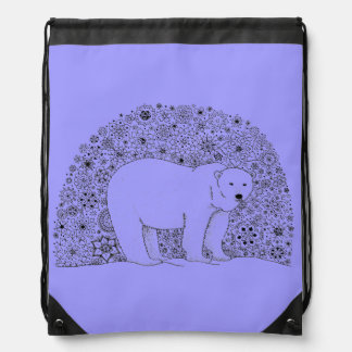 Hand Illustrated Artsy Floral Polar Bear Pen Art Drawstring Bag