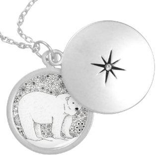 Hand Illustrated Artsy Floral Polar Bear Pen Art Round Locket Necklace