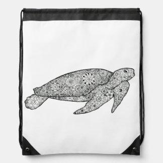 Hand Illustrated Artsy Floral Sea Turtle Backpack