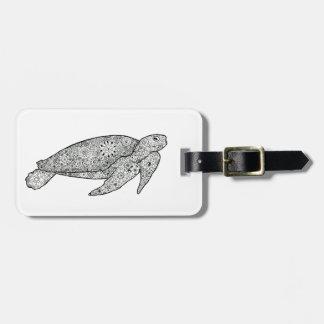 Hand Illustrated Artsy Floral Sea Turtle Travel Bag Tag