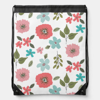 Hand Illustrated Floral Print Drawstring Bag