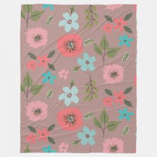 Hand Illustrated Floral Print Fleece Blanket