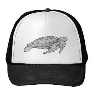 Hand Illustrated Floral Sea Turtle Pen Art Mesh Hat