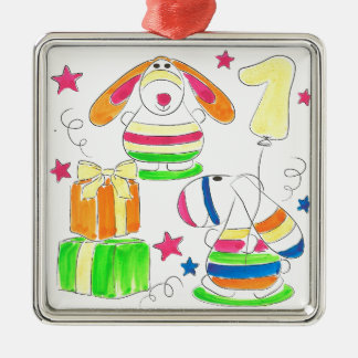 Hand-Illustrated Multicolour Kids Design Silver-Colored Square Decoration