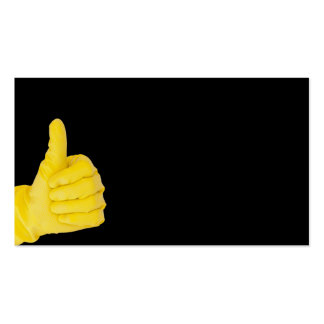 Hand in yellow latex glove business card template