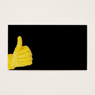 Hand in yellow latex glove business card
