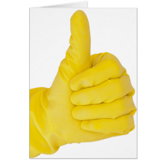 Hand in yellow latex glove card
