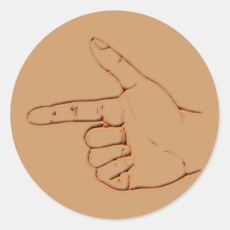 Hand index finger index finger round stickers