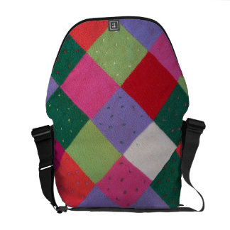 hand knitted patchwork colourful traditional messenger bags