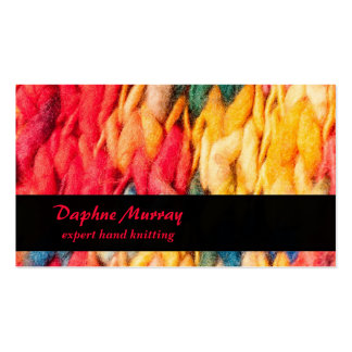Hand Knitter Red and Yellow Yarn Business Card