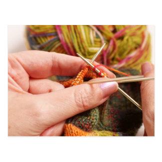 Hand Knitting Postcard