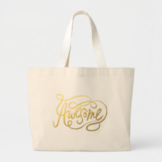 Hand Lettered Awesome Design in Gold Jumbo Tote Bag