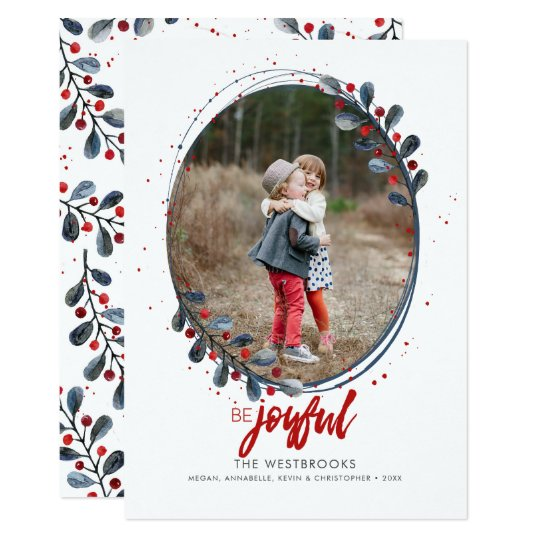Hand Lettered Be Joyful Holiday Photo Card