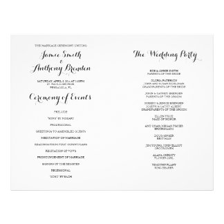 Hand Lettered Calligraphy Wedding Program 21.5 Cm X 28 Cm Flyer